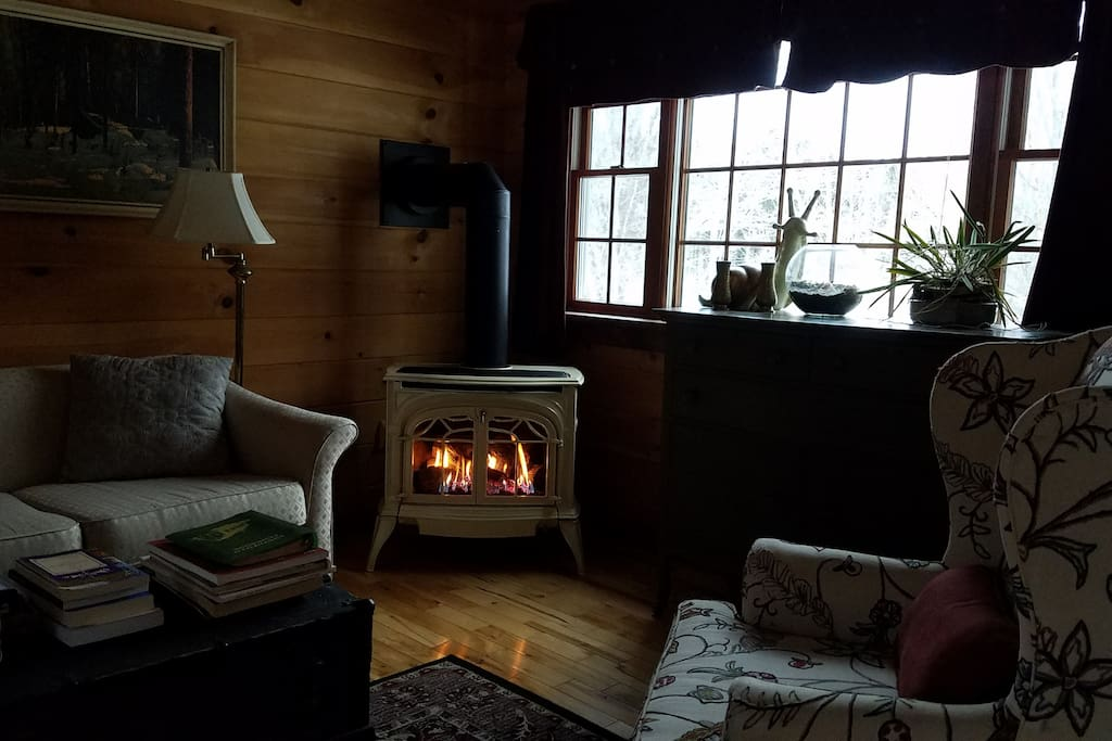 Gas fireplace adds a wonderful ambiance to the cottage.