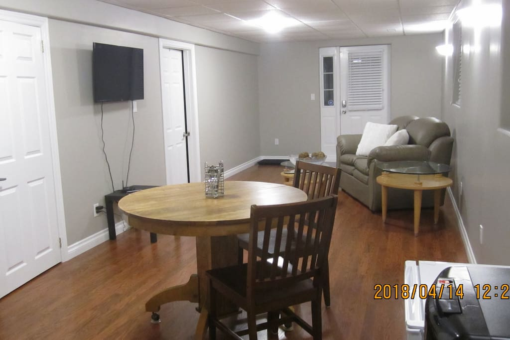 Private area for dining. Refrigerator, Water cooler, Microwave, Toaster, Coffee Maker all provided in your own space.
