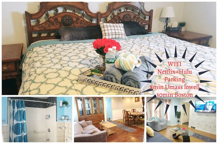 ★Large 1BR★ Quiet,Parking|StudentsTravelers|Lowell