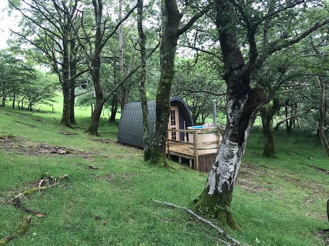 The Oak Woodland Eco Glamping pod with hot tub