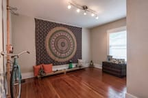 Yoga Room. Includes closet with Yoga mats and Props, as well as air mattress for additional guests.