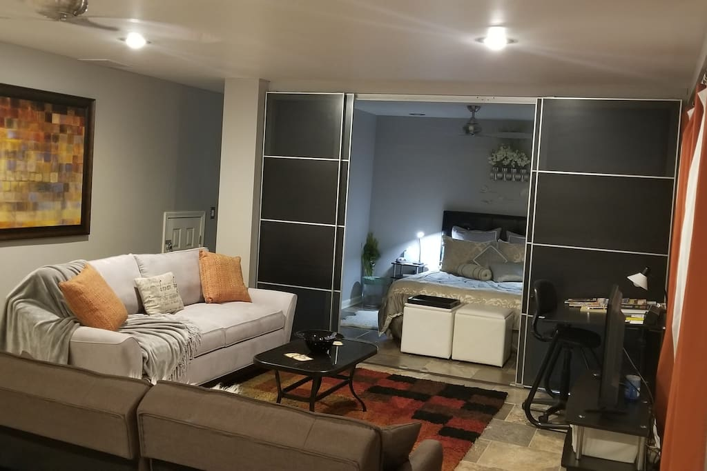 Spacious , private, modern apartment with all the comforts of home. Main living area includes sleeper sofa with Sealy foam mattress and two comfortable futons.