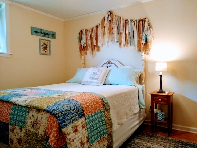 Downstairs bedroom,  queen bed with Comfortable, memory foam, mattress topper. This room has easy accessibility for the older crowd.