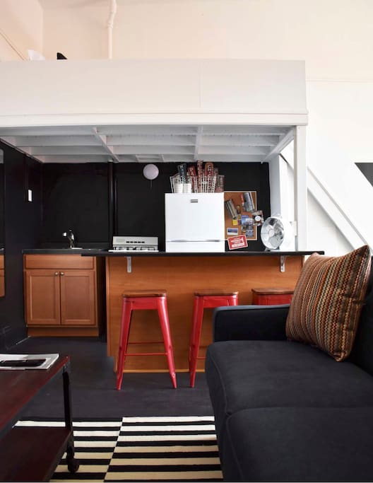 Up on that loft above the kitchen is the Twin-sized bed