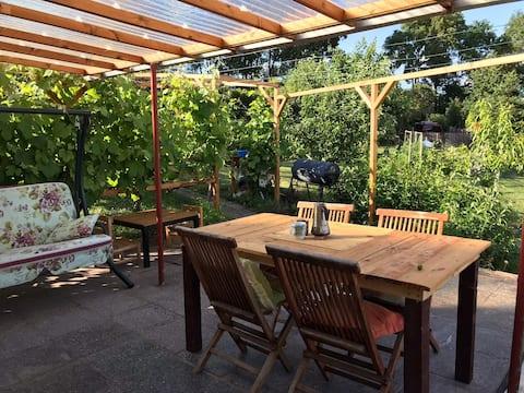 Kleines Haus im Garten mit Sommerdusche
