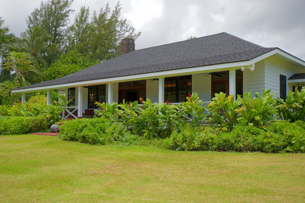 The lanai (veranda) fo the main house, or gathering place.