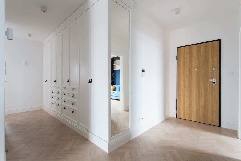Spacious hall with a large wardrobe