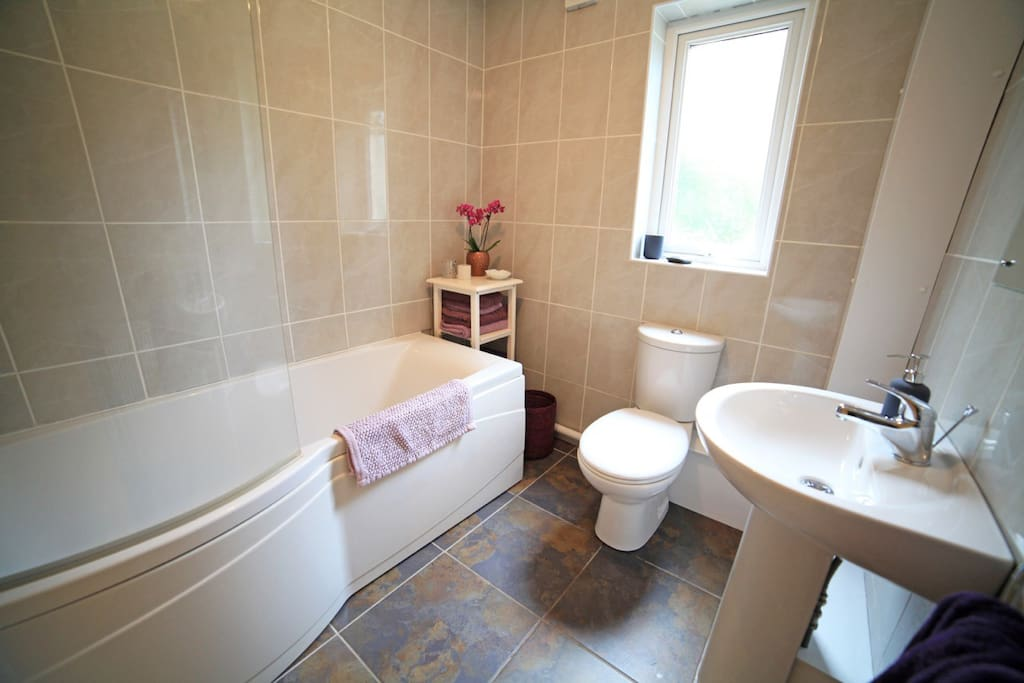 Modern bathroom adjacent to the bedroom