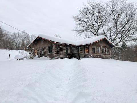 Log Cabin with Catskill Mountain Views