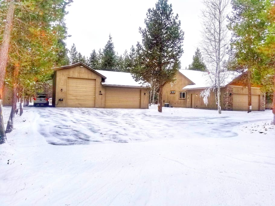 Driveway and Shop in Winter with lots of parking for Snowmobile Trailers