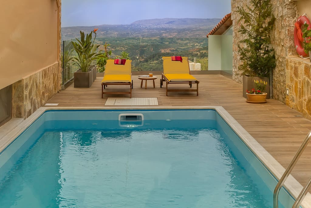 The 8x3 meter private pool is surrounded by a beautifully  place in full isolation, where you can enjoy Cretan charms