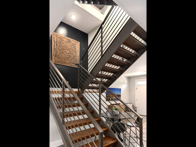 Stairs going from 1st floor to 2nd floor.