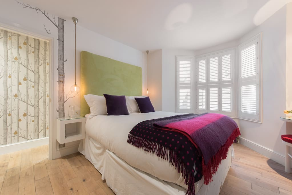 Pear Tree themed bedroom with plantation shutters