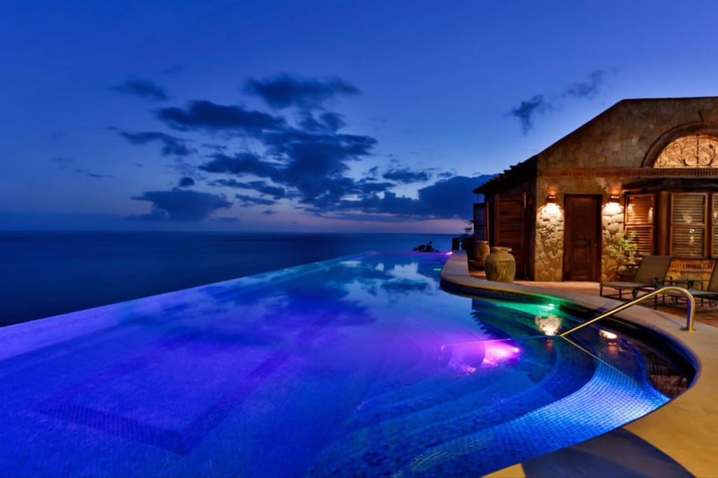 Sunset view overlooking infinity pool
