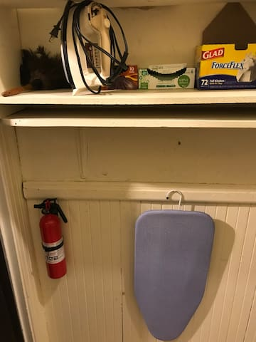 Fire Extinguisher, Iron, and Ironing Board