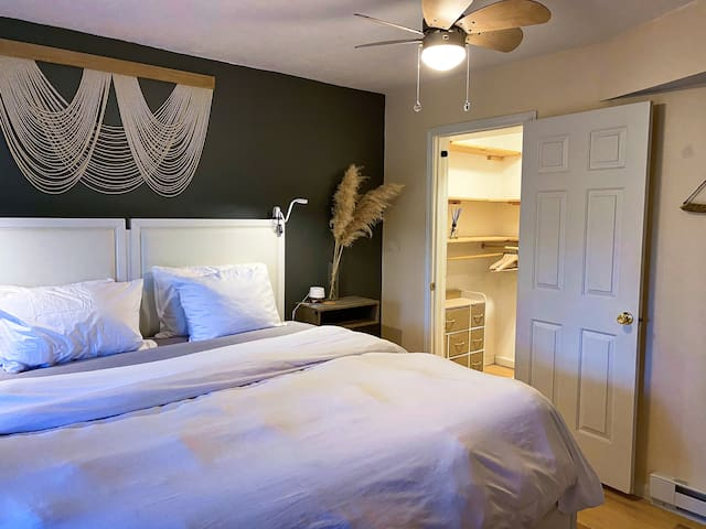 Master bedroom with walk in closet, sound machine, ceiling fan & light with remote, large screen TV,  and baseboard heater.