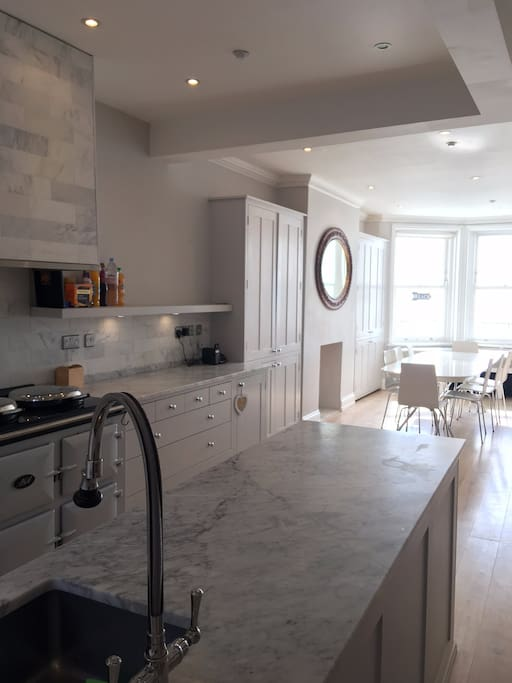 Kitchen and dining area with sea views