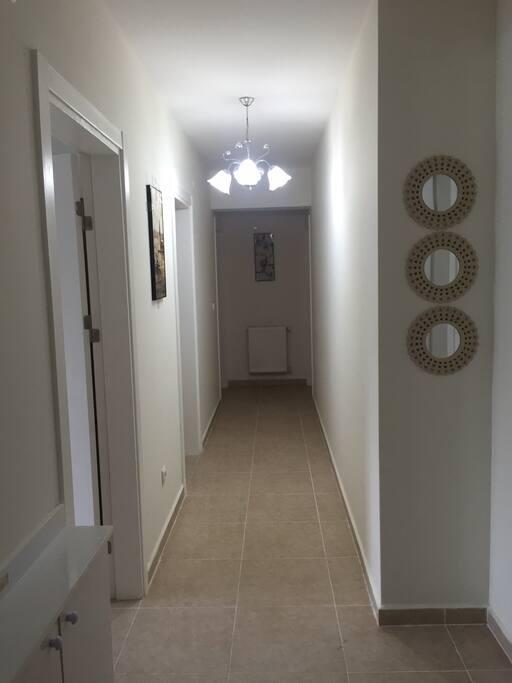 The corridor between the rooms