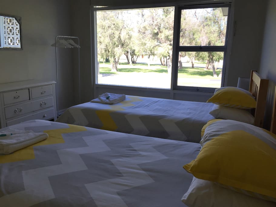 Bedroom 2 with view over park