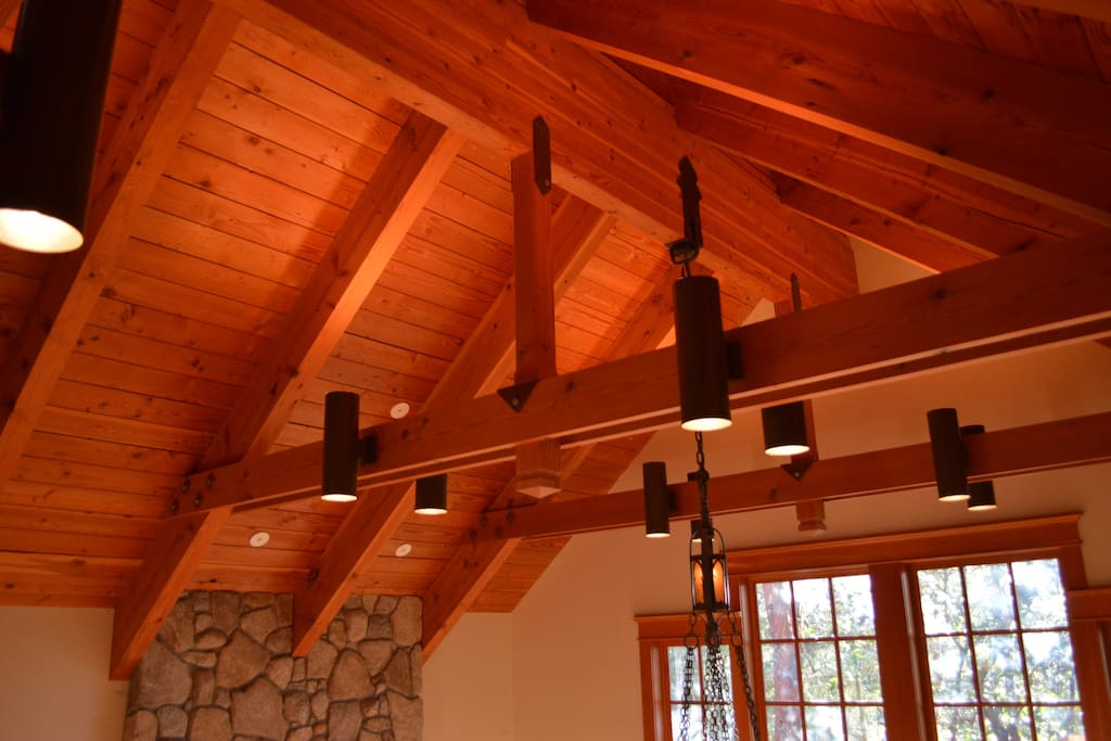 Amazing reclaimed timber beams throughout the home