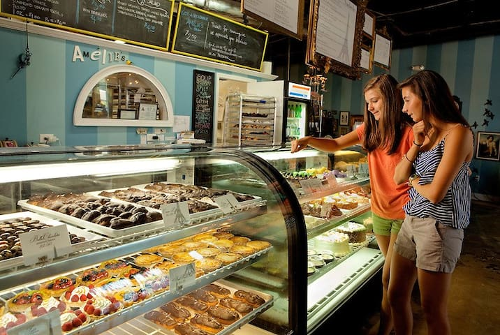 Amelie's French Bakery is a CLT staple.  Open 24 hours a day and walking distance from the house