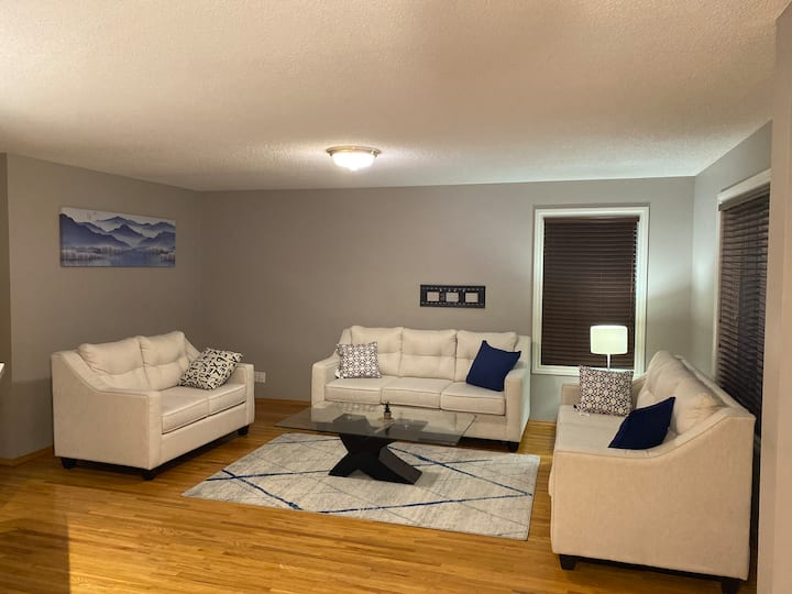 Basement with a large living, bedroom & bathroom