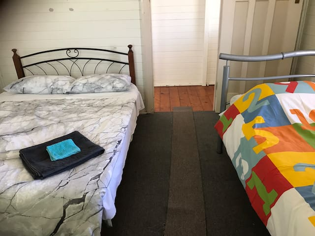 One double bed one single bed