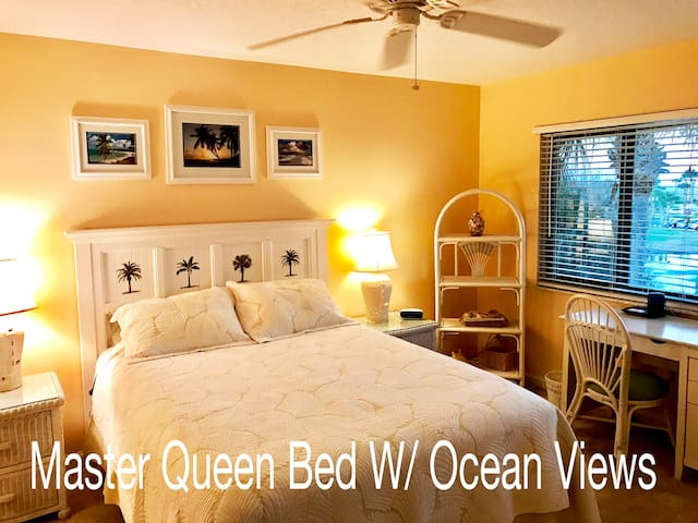 Master Bedroom With Palm Tree And Ocean Views! Ceiling Fan , AC, Private Wifi
