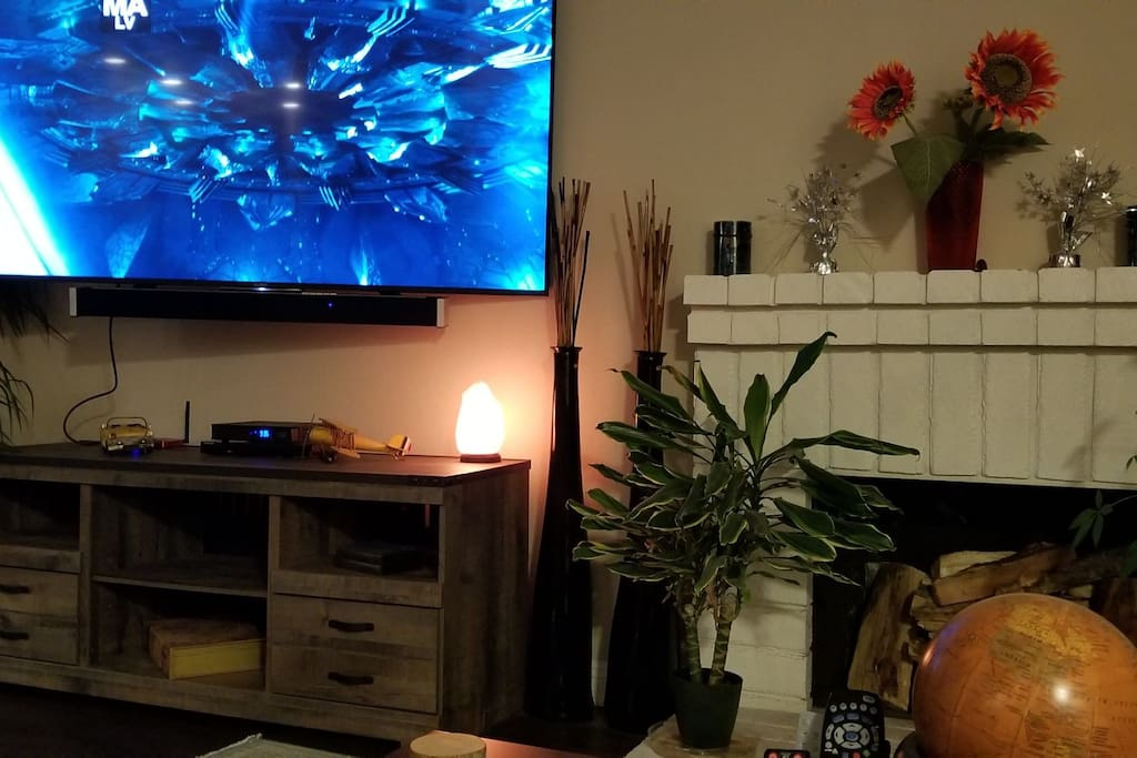 Living room with 80 inch Sony Smart TV