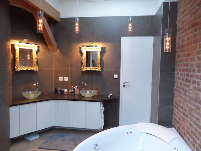 salle de bain. douche italienne et baignoire.