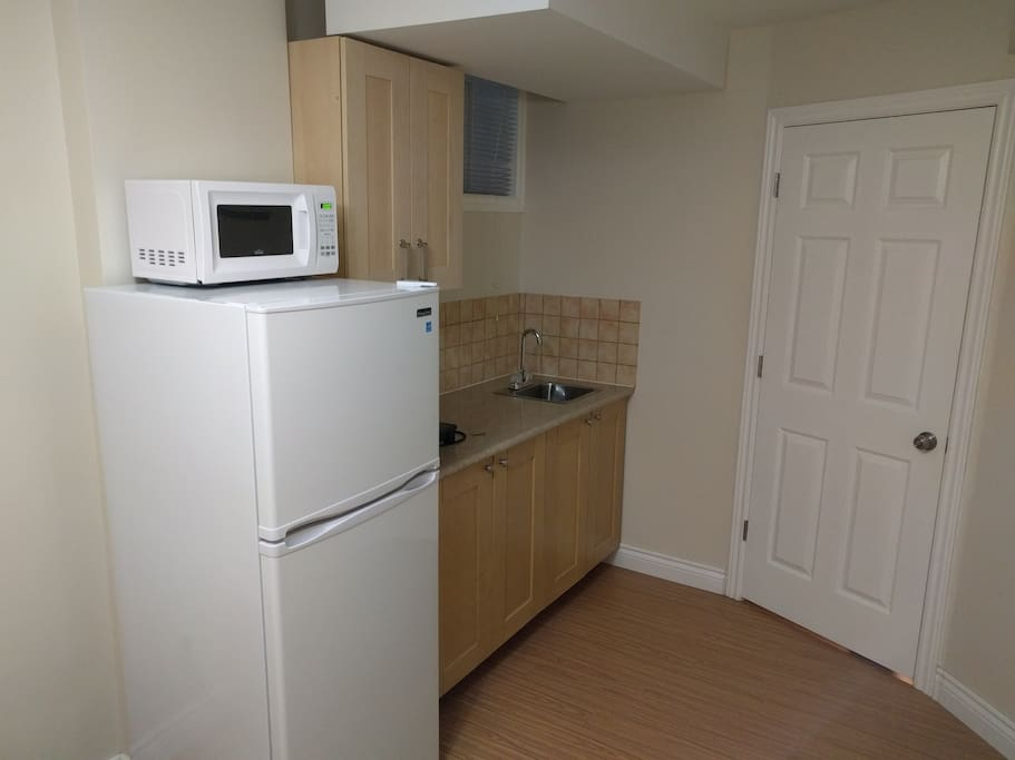 Comes with a microwave and a fridge.