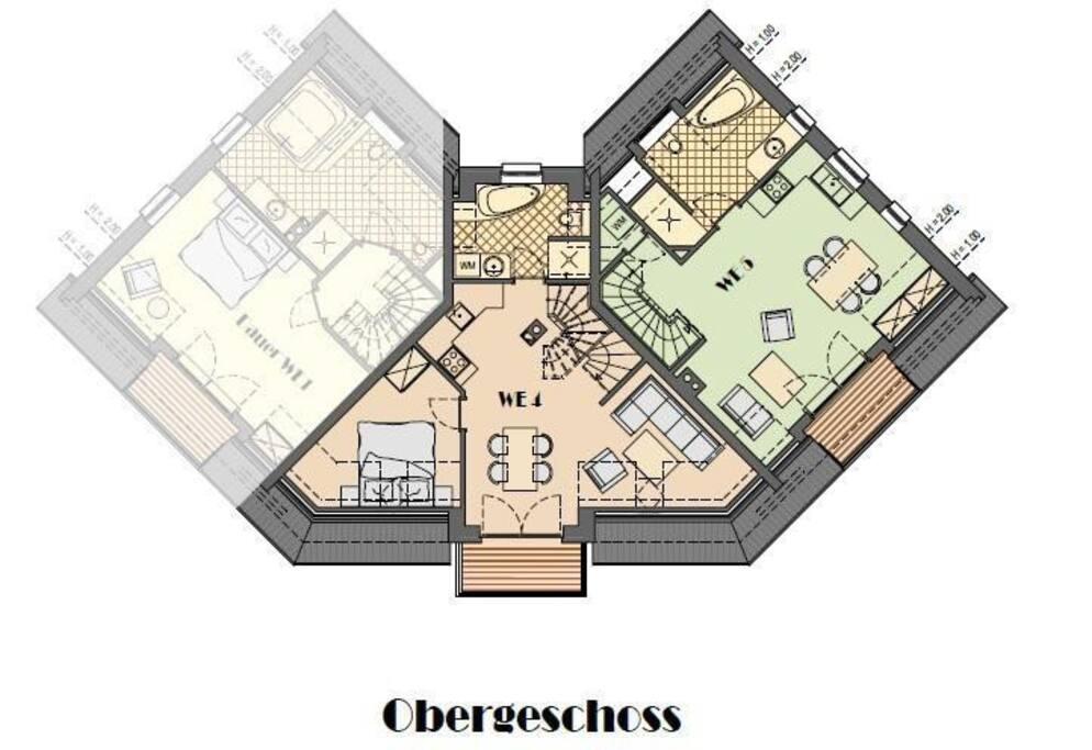 WE 4 = Wohnung Langness Grundrisszeichnung