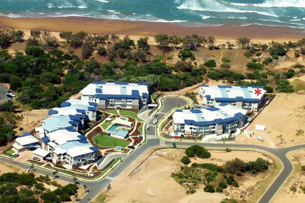 Aerial view of the apartments, very close to the beachfront