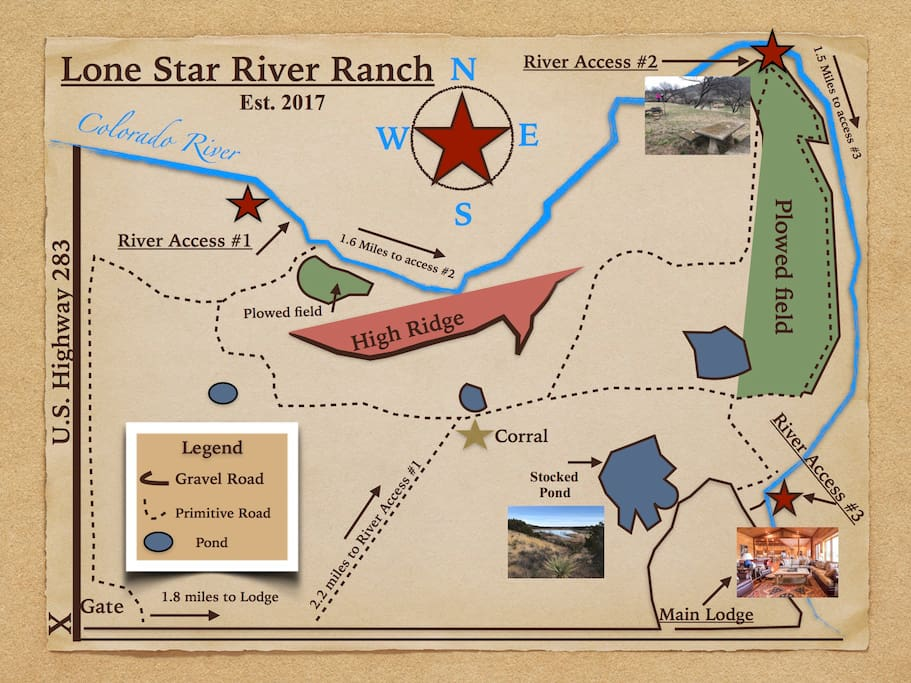 Map of the property - 1200 acres with trails throughout. 5 miles of river access.