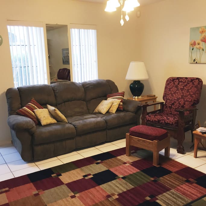 View of the living room.  Furnished with comfort in mind.