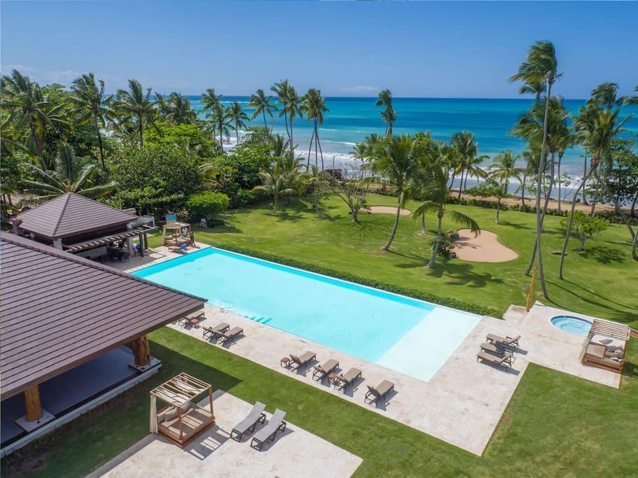 The Playa Bonita Beach Club, one of the exclusive amenities within the Playa Bonita complex.