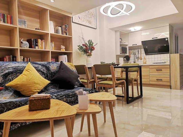 【书味夜灯】土桥地铁|现代简约Loft|两室一厅两卫|可做饭|有茶有书|优质用物|连住优惠
