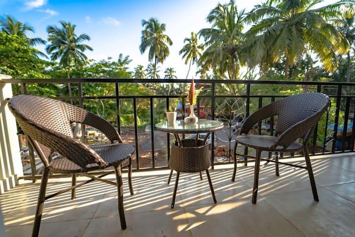 Cozy service apt w/pool/garden @ Baga & Calangute