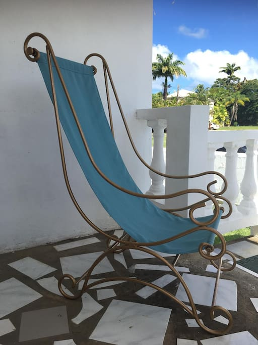 Chillax Bajan style on our sunny front veranda in our lovingly up-cycled antique loungers!