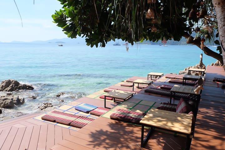 园景房面对大海、日落私人海滩!免费皮划艇和早餐@ Private beach+snorkeling