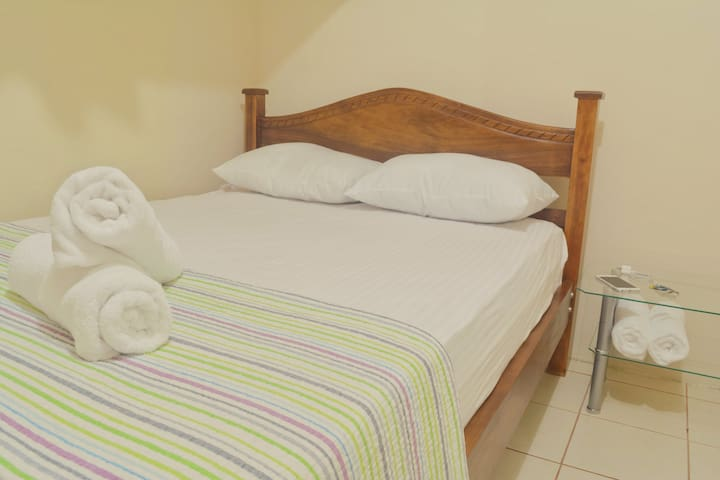 Bedroom 2: double bed with fan