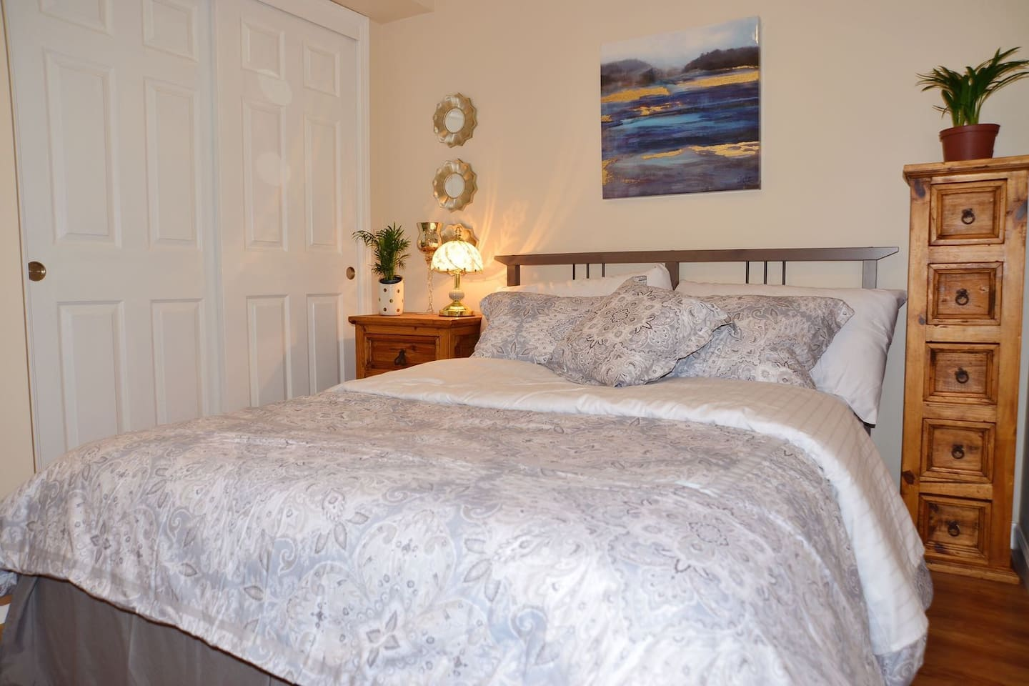 Bedroom with firm, comfortable mattress and roomy closet.