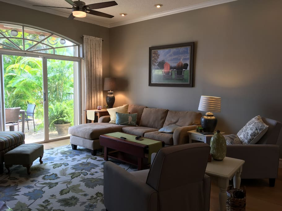 living area with access to patio