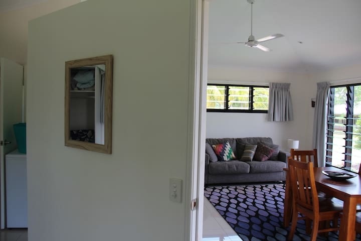 View from bedroom into living room