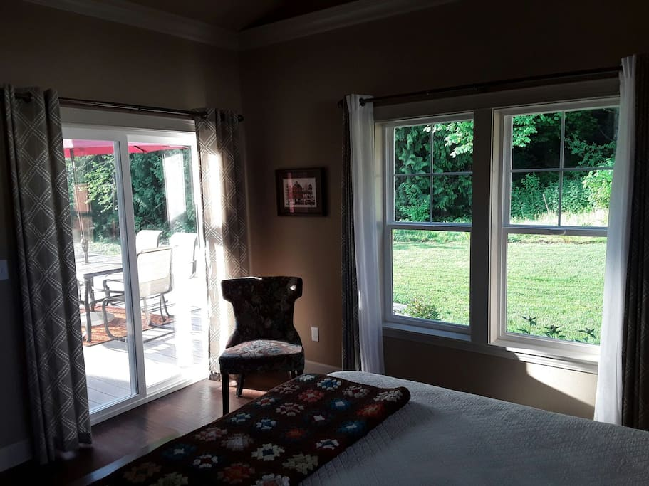 Lot's of natural light. Step out of your room onto deck.  Enjoy view of Anacortes forest land.