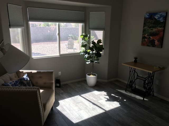 Enjoy yoga or meditation while gazing out window at the Catalina Mountains