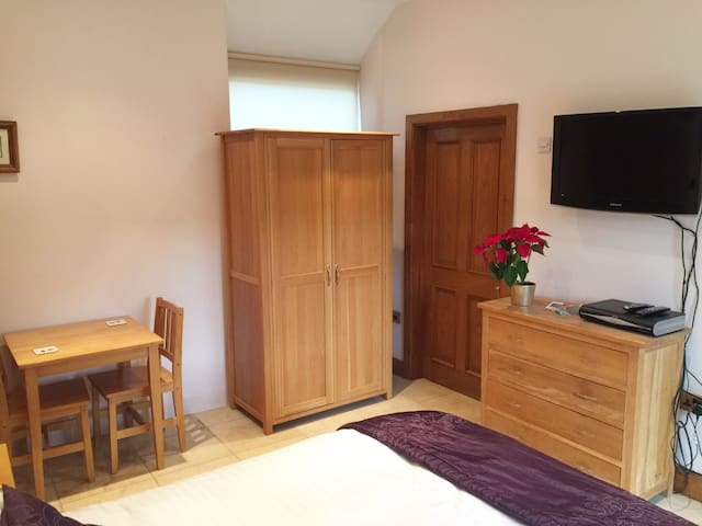 Studio room with TV, Wi-fi, wardrobe, drawers and dining table