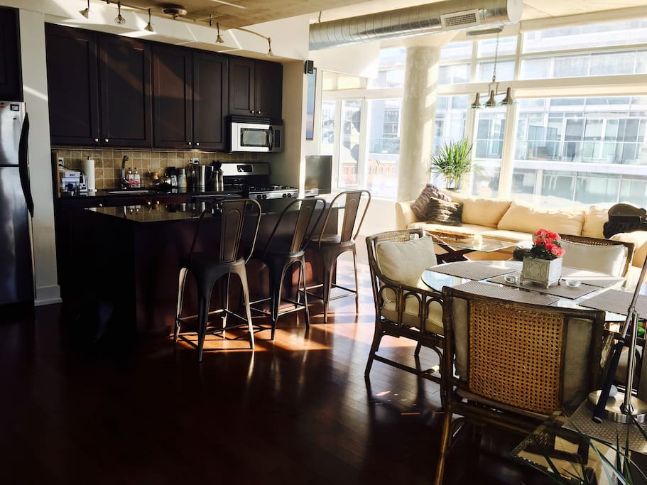 Full kitchen. Stainless Steele appliances and gas stove.