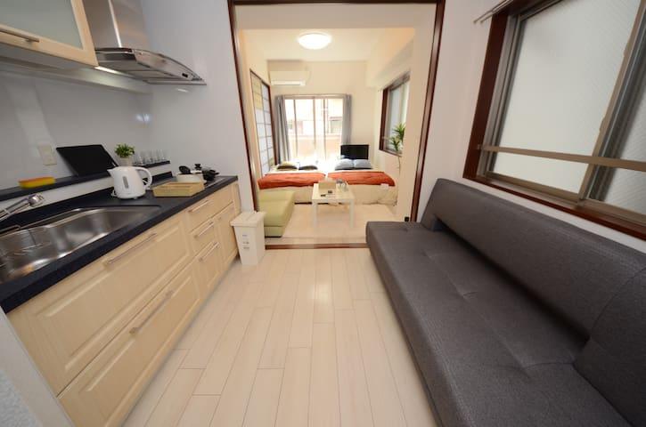 ⑲道顿堀 大阪/黑门市场/供8人入住的4张床+WIFI