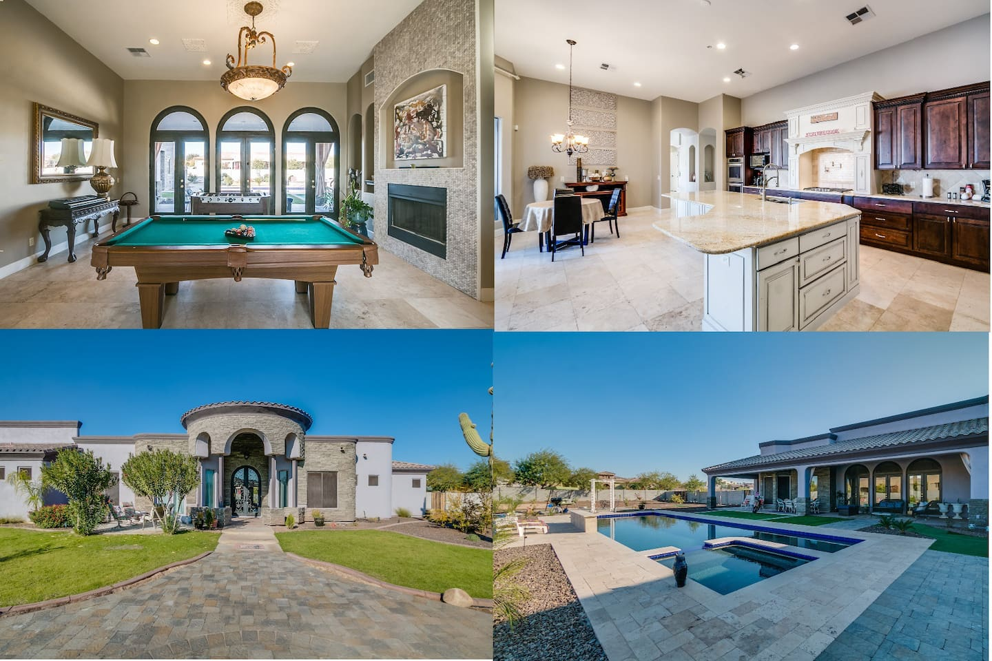 This picture shows 4 area of the house which big pool, backyard patio, game area showing pool foos table and huge kitchen. Main entrance is also shown here.